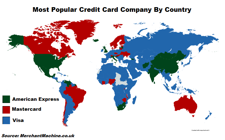 Credit card brand leaders by country